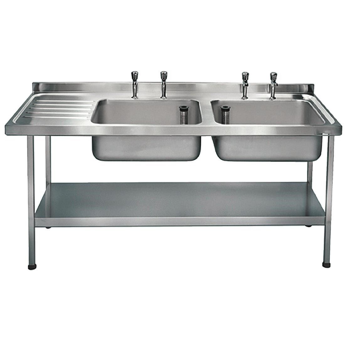 Franke Stainless Steel Double Bowl Sink Left Hand Drainer - P372